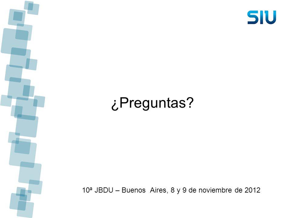 10ª JBDU – Buenos Aires, 8 y 9 de noviembre de 2012