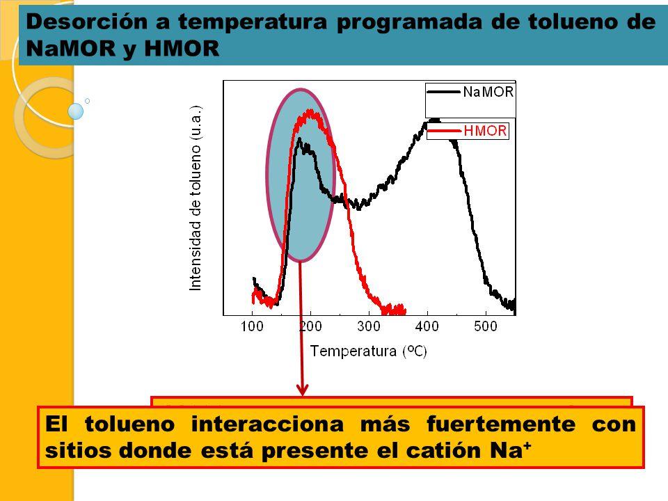 Desorción a temperatura programada de tolueno de NaMOR y HMOR
