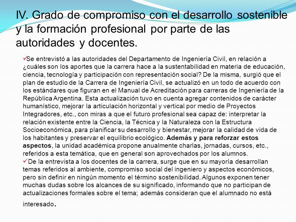 IV. Grado de compromiso con el desarrollo sostenible y la formación profesional por parte de las autoridades y docentes.