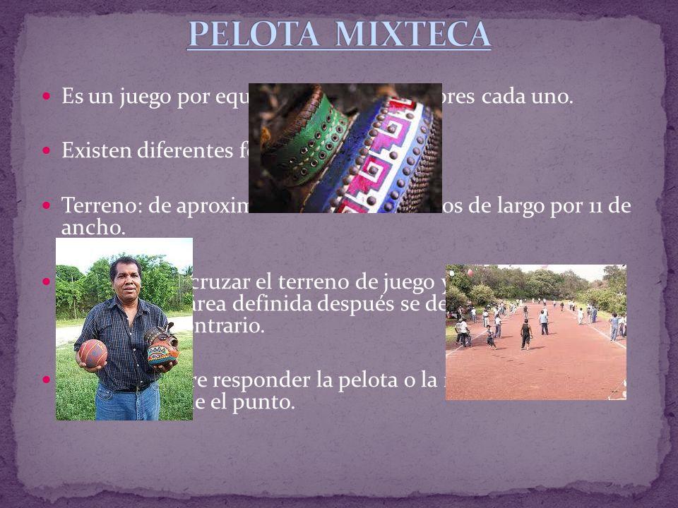 PELOTA MIXTECA Es un juego por equipos de cinco jugadores cada uno.