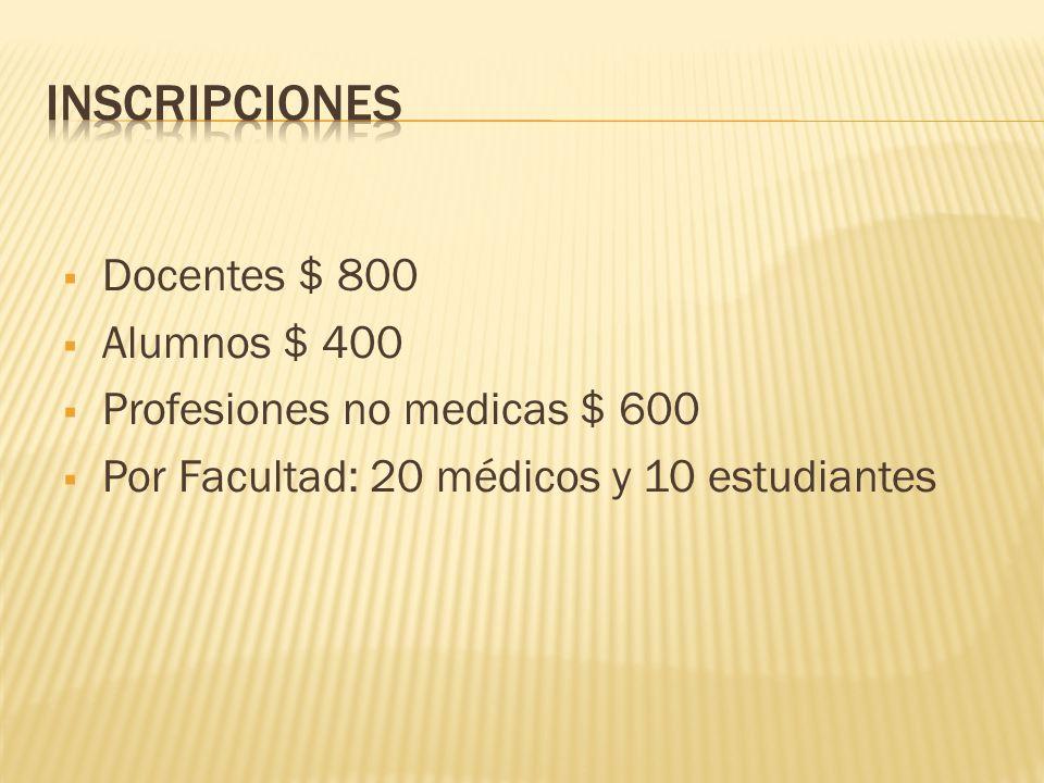 Inscripciones Docentes $ 800 Alumnos $ 400
