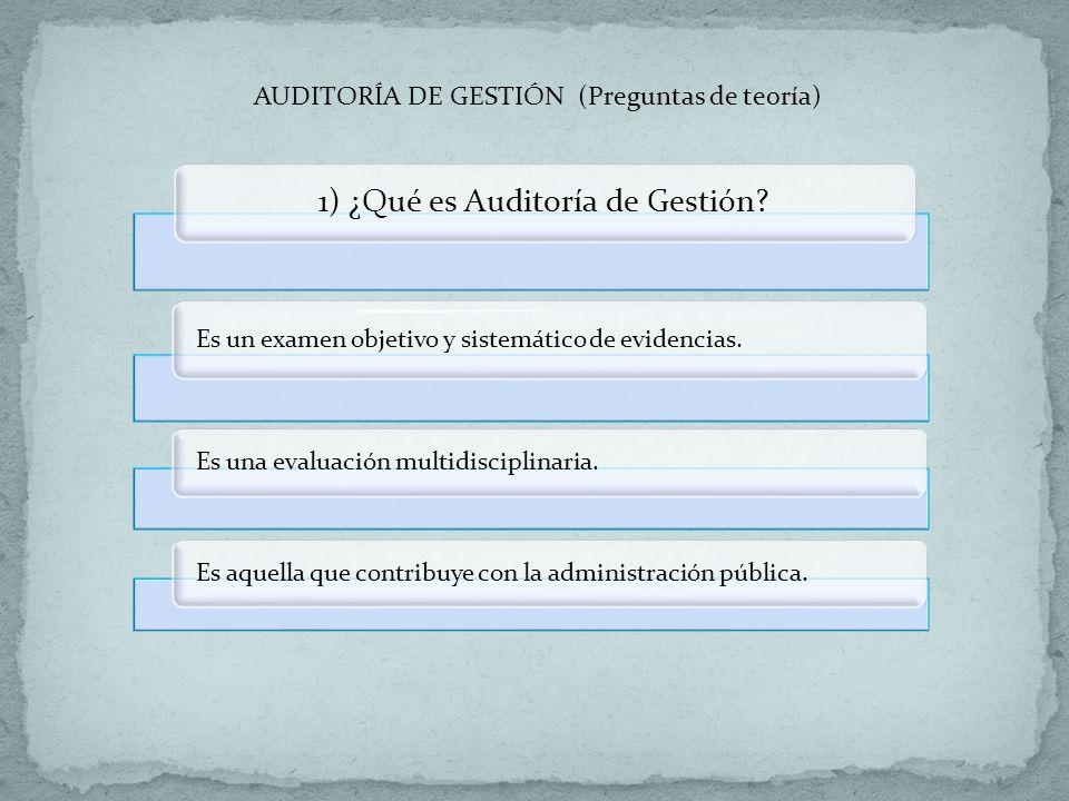 1) ¿Qué es Auditoría de Gestión