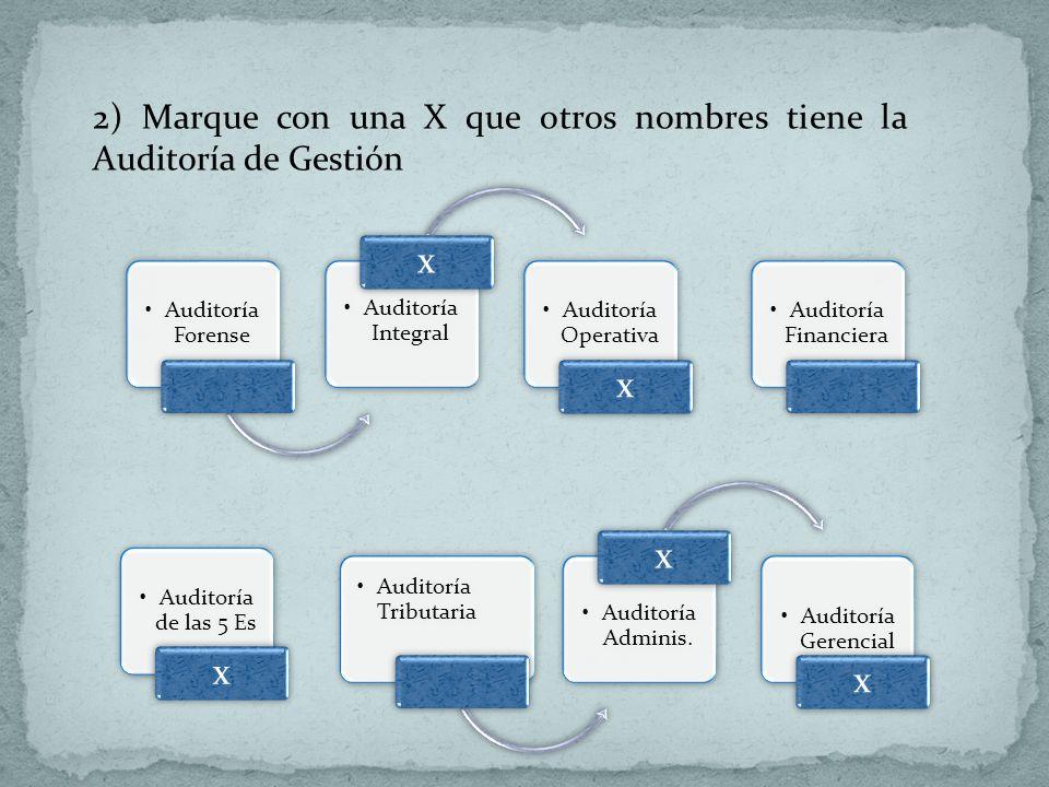 x 2) Marque con una X que otros nombres tiene la Auditoría de Gestión