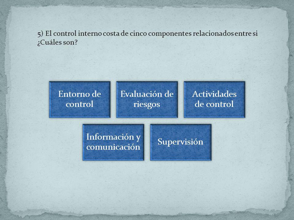 5) El control interno costa de cinco componentes relacionados entre si ¿Cuáles son