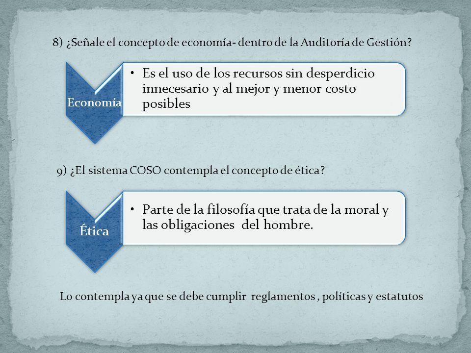 8) ¿Señale el concepto de economía- dentro de la Auditoría de Gestión