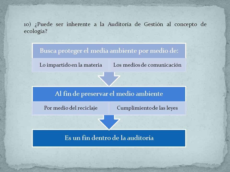 10) ¿Puede ser inherente a la Auditoría de Gestión al concepto de ecología