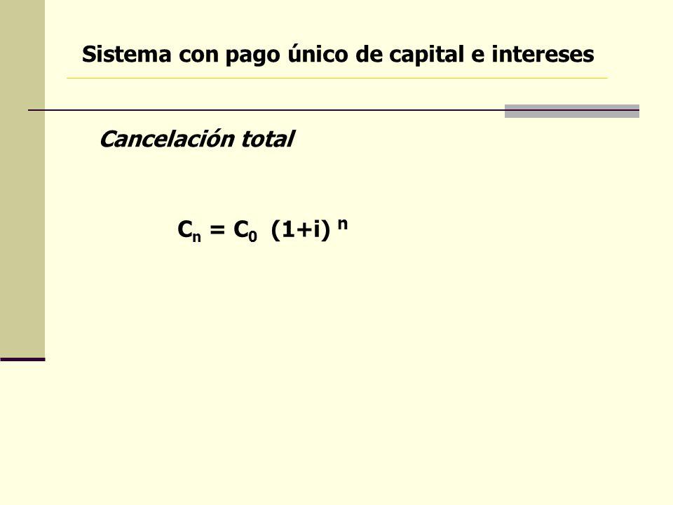 Sistema con pago único de capital e intereses