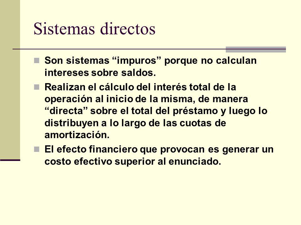 Sistemas directos Son sistemas impuros porque no calculan intereses sobre saldos.