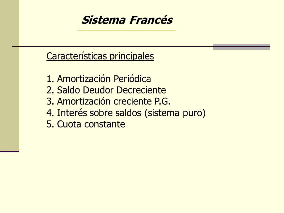 Sistema Francés Características principales Amortización Periódica
