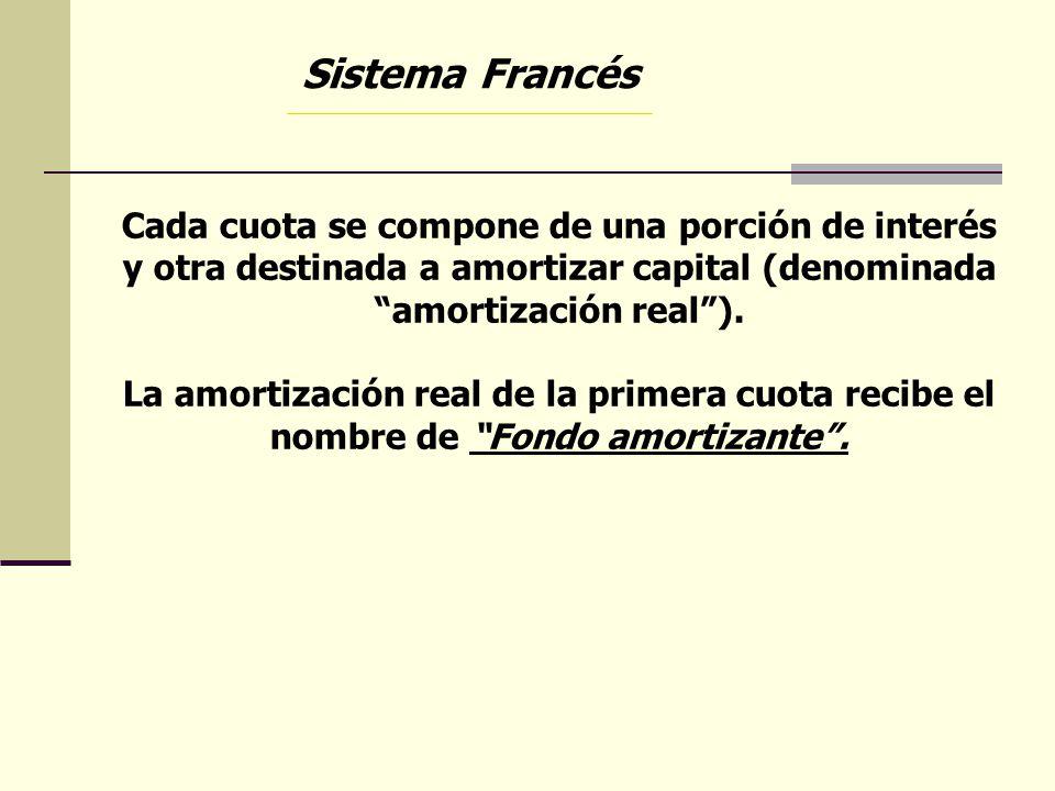 Sistema Francés Cada cuota se compone de una porción de interés y otra destinada a amortizar capital (denominada amortización real ).
