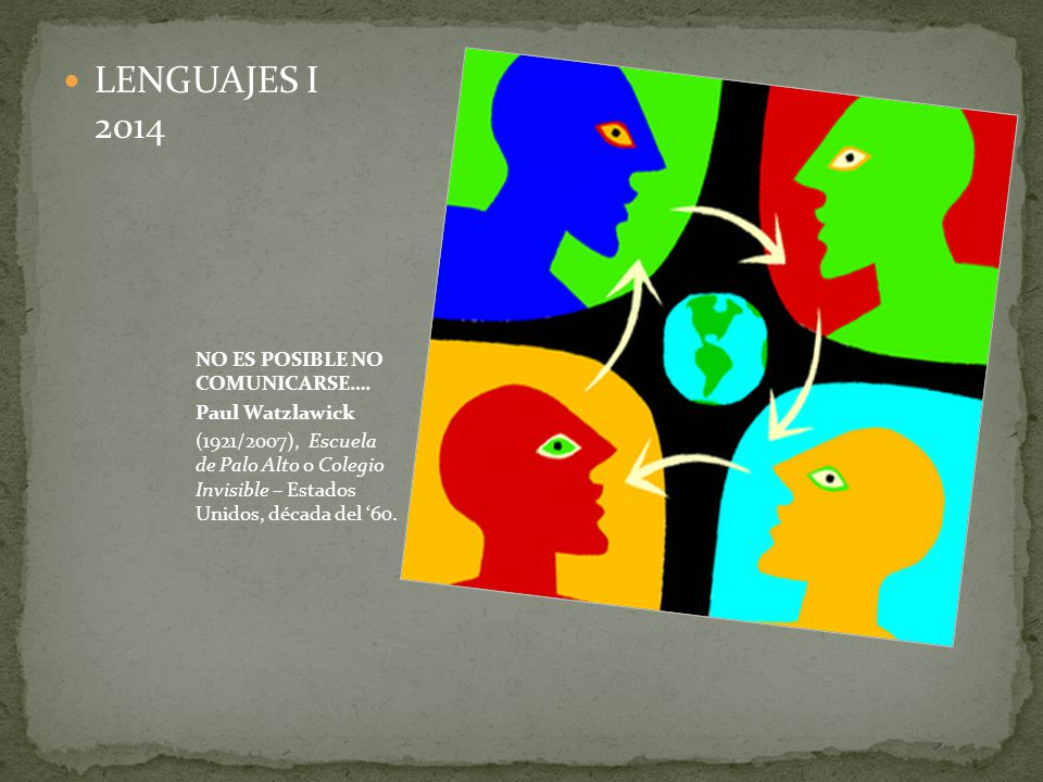 LENGUAJES I 2014 NO ES POSIBLE NO COMUNICARSE…. Paul Watzlawick