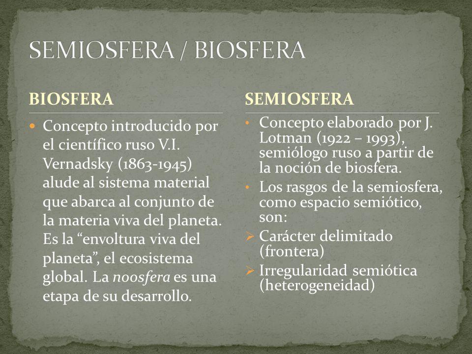SEMIOSFERA / BIOSFERA BIOSFERA SEMIOSFERA