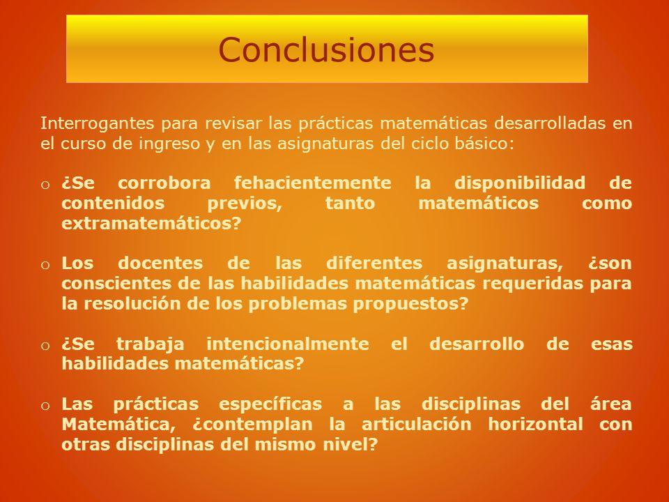 Conclusiones Interrogantes para revisar las prácticas matemáticas desarrolladas en el curso de ingreso y en las asignaturas del ciclo básico:
