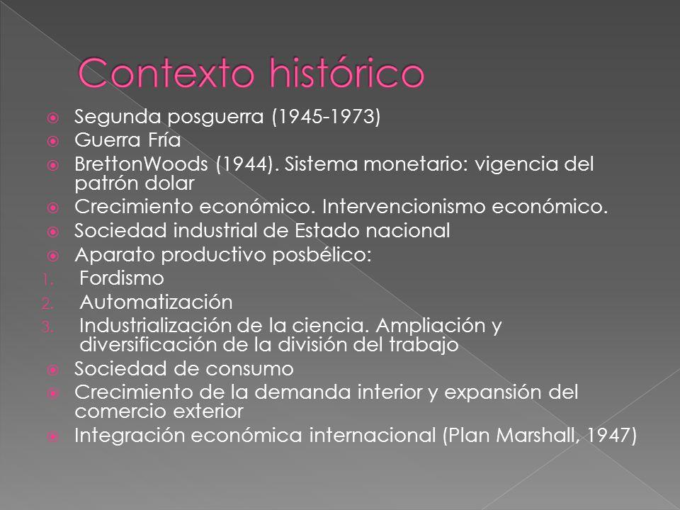Contexto histórico Segunda posguerra (1945-1973) Guerra Fría
