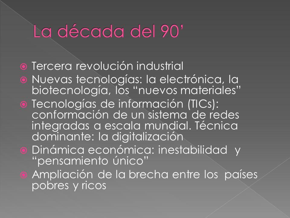 La década del 90' Tercera revolución industrial
