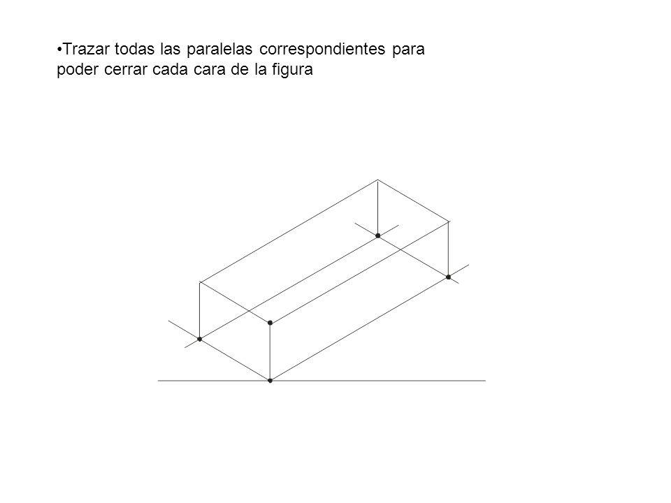 Trazar todas las paralelas correspondientes para poder cerrar cada cara de la figura