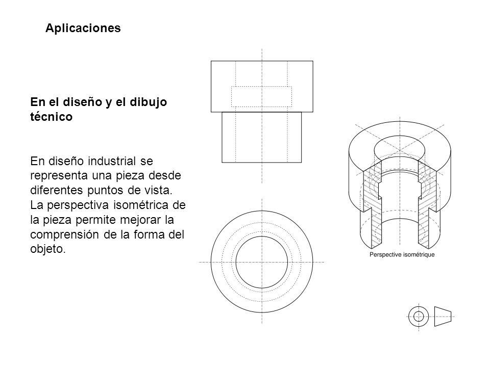 Aplicaciones En el diseño y el dibujo técnico. En diseño industrial se representa una pieza desde diferentes puntos de vista.