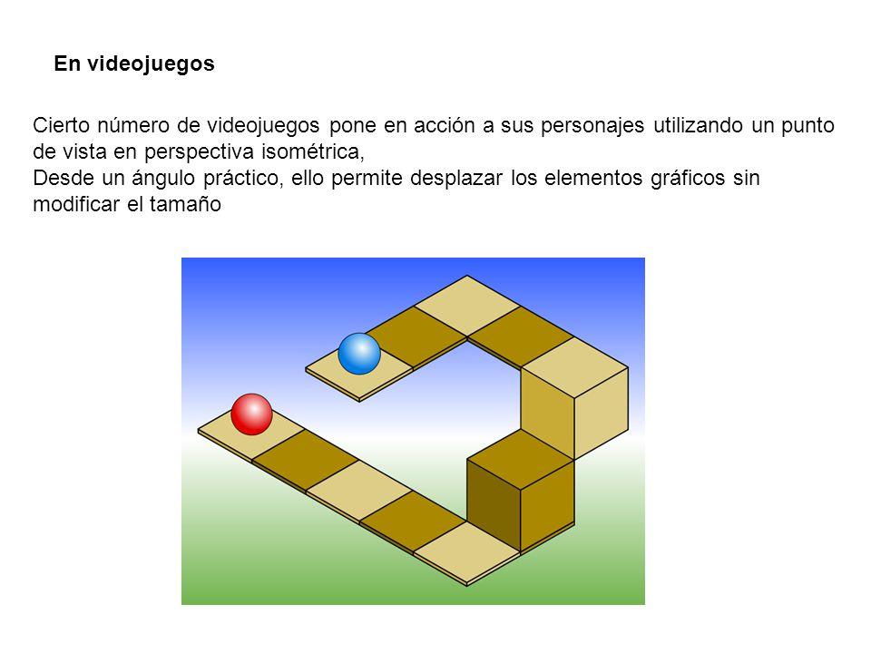 En videojuegos Cierto número de videojuegos pone en acción a sus personajes utilizando un punto de vista en perspectiva isométrica,