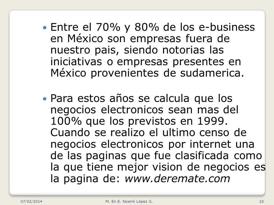 Entre el 70% y 80% de los e-business en México son empresas fuera de nuestro pais, siendo notorias las iniciativas o empresas presentes en México provenientes de sudamerica.