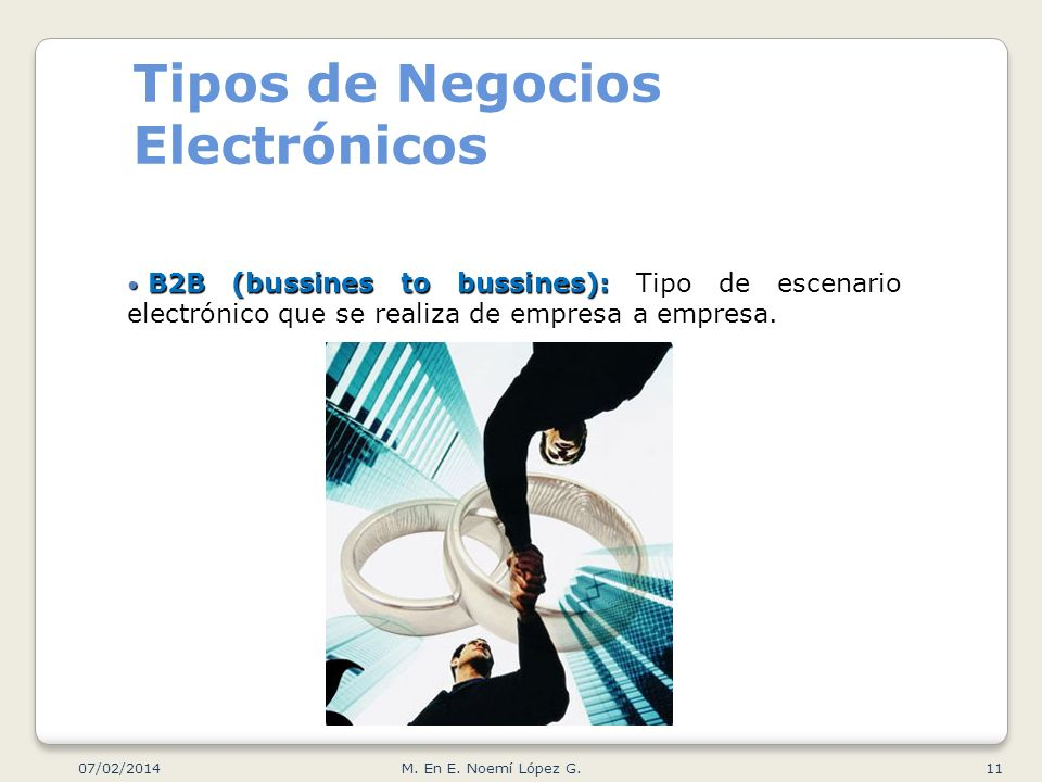 Tipos de Negocios Electrónicos