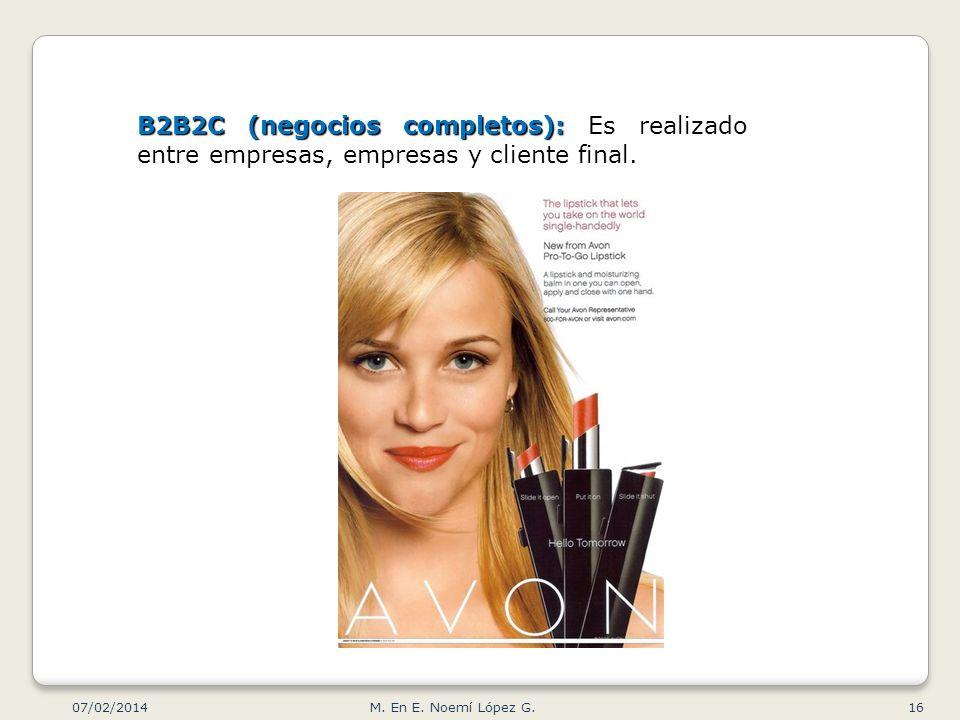B2B2C (negocios completos): Es realizado entre empresas, empresas y cliente final.