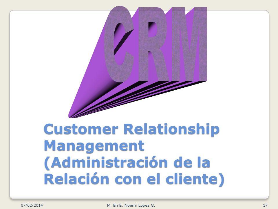 CRM Customer Relationship Management (Administración de la Relación con el cliente) 24/03/2017.