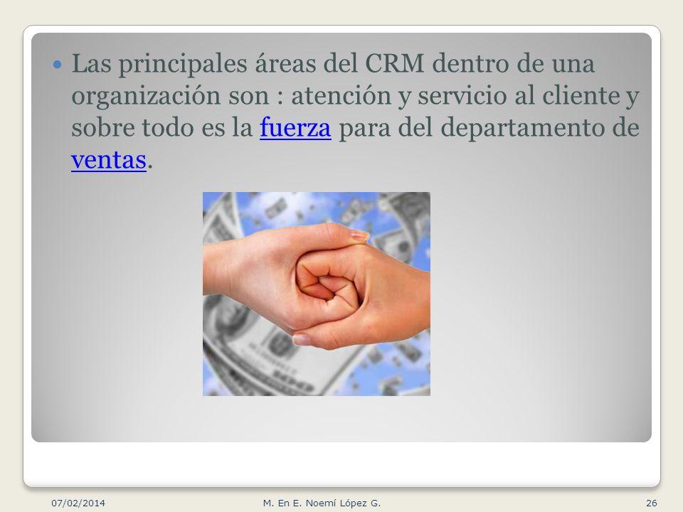 Las principales áreas del CRM dentro de una organización son : atención y servicio al cliente y sobre todo es la fuerza para del departamento de ventas.