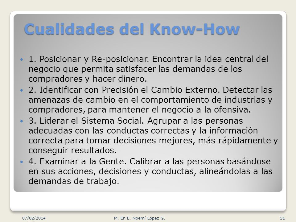 Cualidades del Know-How