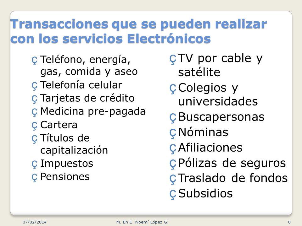 Transacciones que se pueden realizar con los servicios Electrónicos