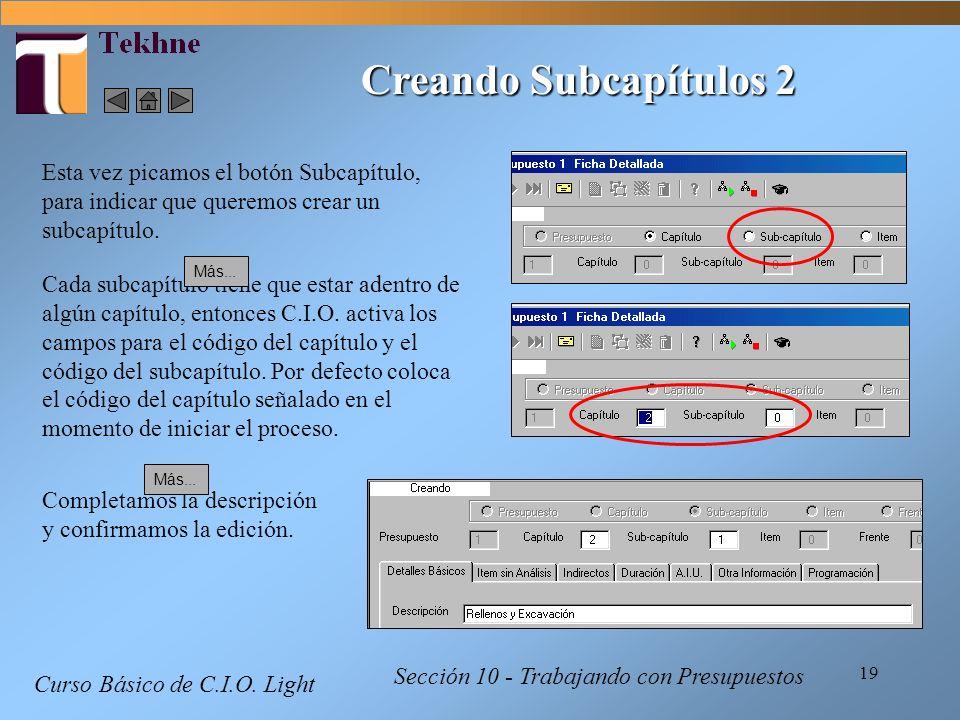Creando Subcapítulos 2 Esta vez picamos el botón Subcapítulo, para indicar que queremos crear un subcapítulo.