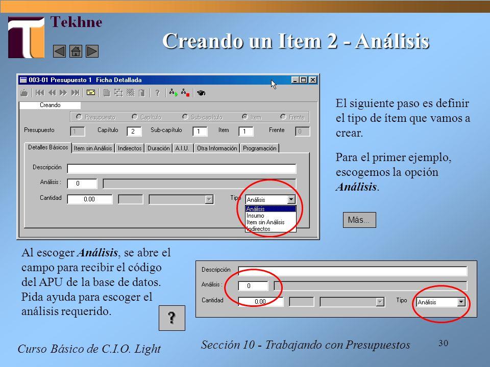 Creando un Item 2 - Análisis