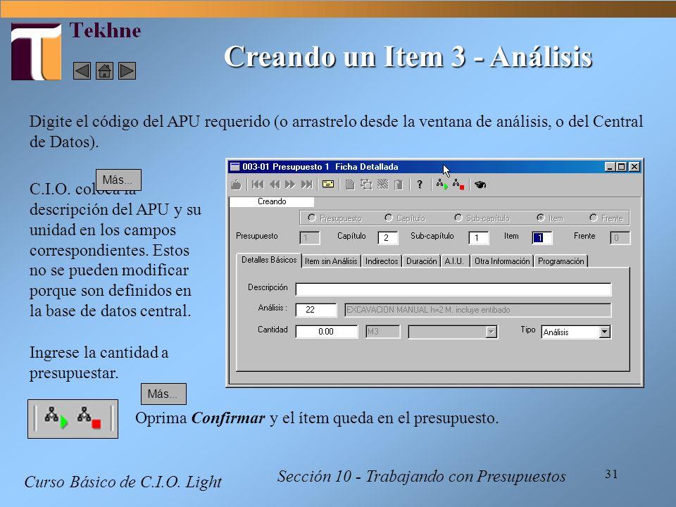 Creando un Item 3 - Análisis