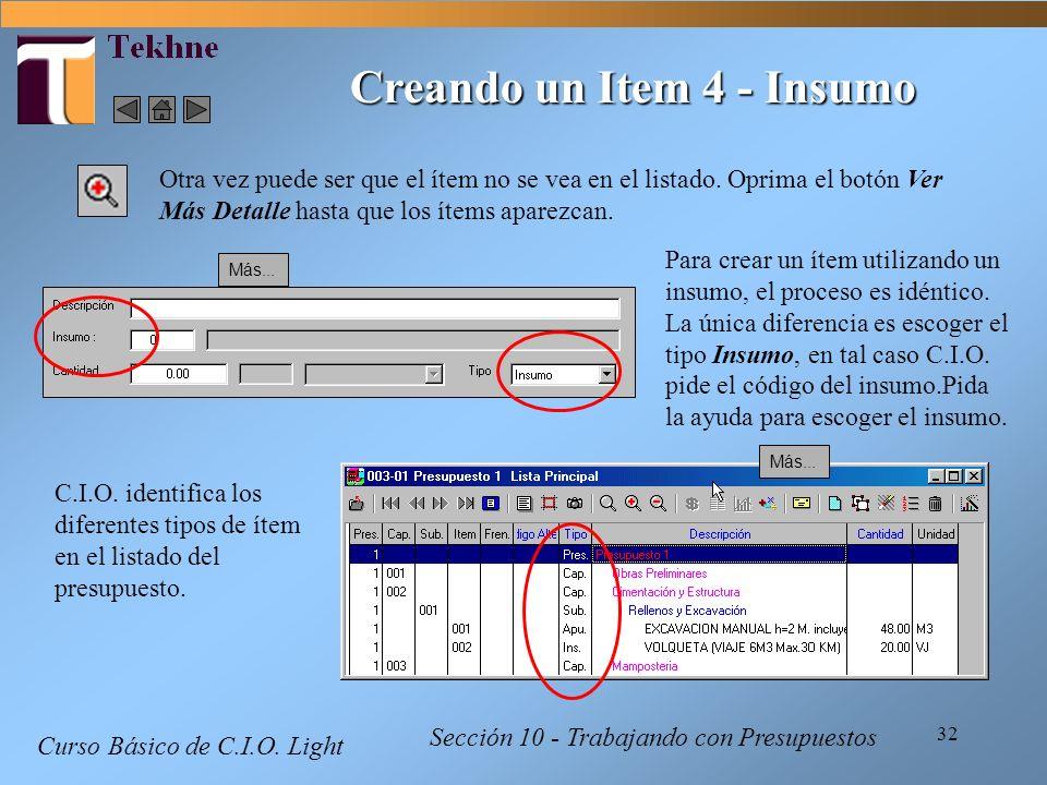 Creando un Item 4 - Insumo