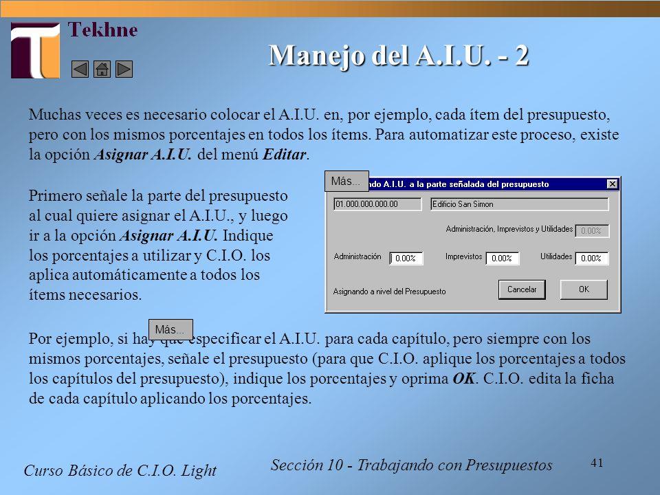 Manejo del A.I.U. - 2