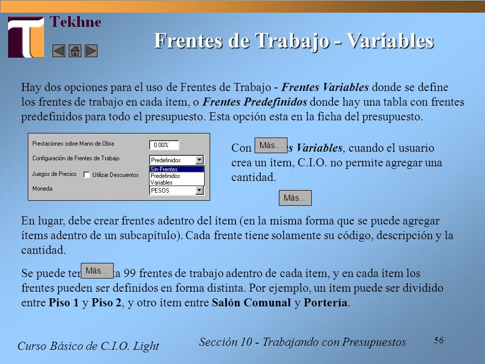 Frentes de Trabajo - Variables