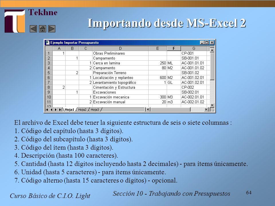 Importando desde MS-Excel 2
