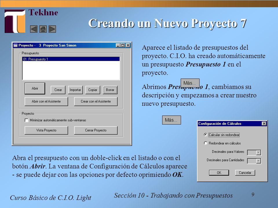 Creando un Nuevo Proyecto 7