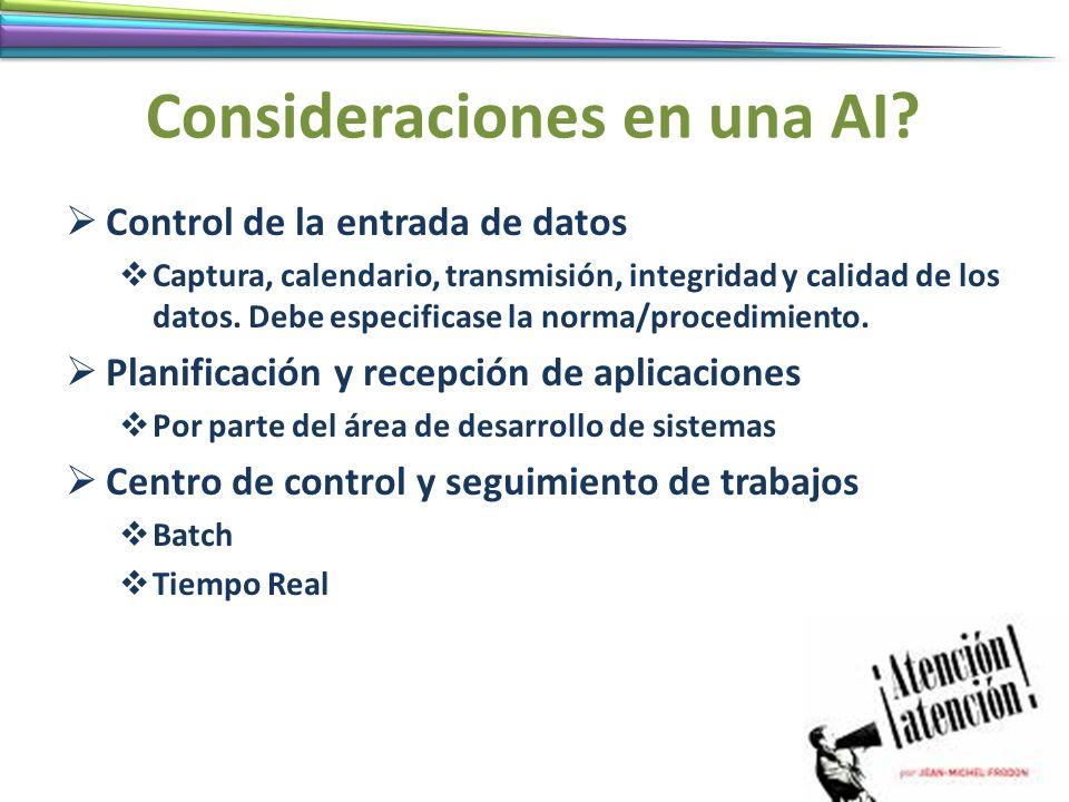 Consideraciones en una AI
