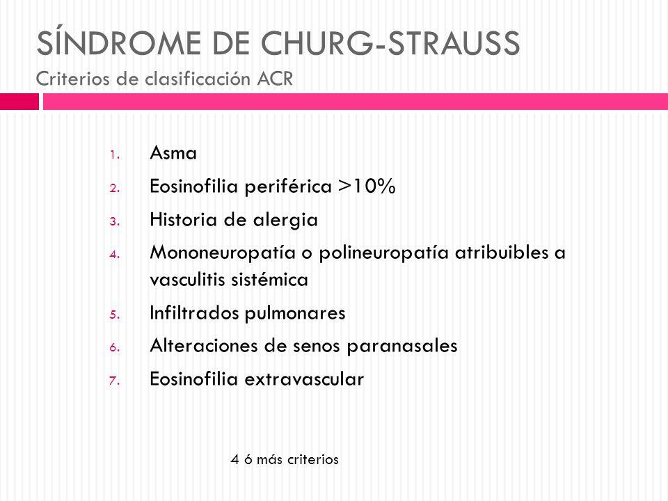 SÍNDROME DE CHURG-STRAUSS Criterios de clasificación ACR
