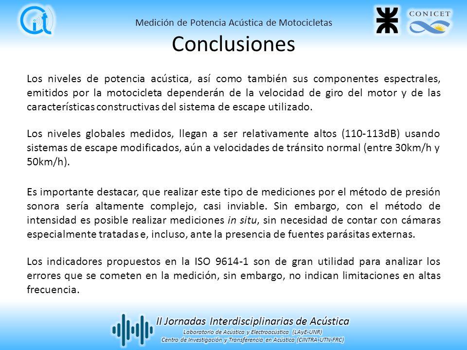 Conclusiones Medición de Potencia Acústica de Motocicletas.