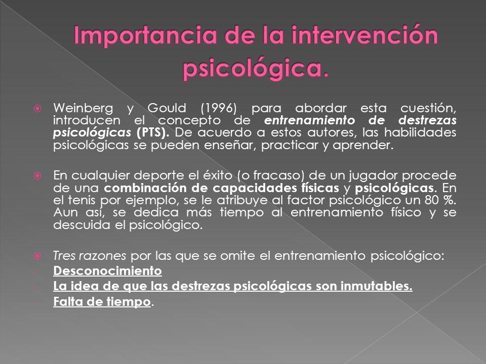 Importancia de la intervención psicológica.