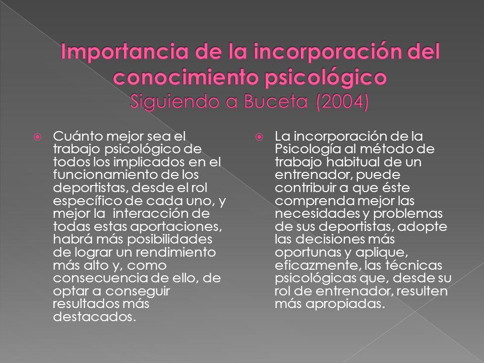 Importancia de la incorporación del conocimiento psicológico Siguiendo a Buceta (2004)