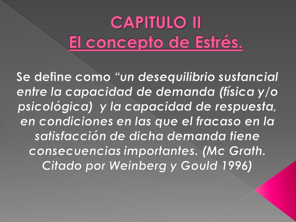 CAPITULO II El concepto de Estrés.