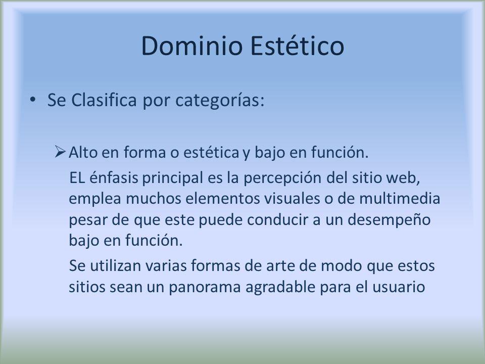 Dominio Estético Se Clasifica por categorías: