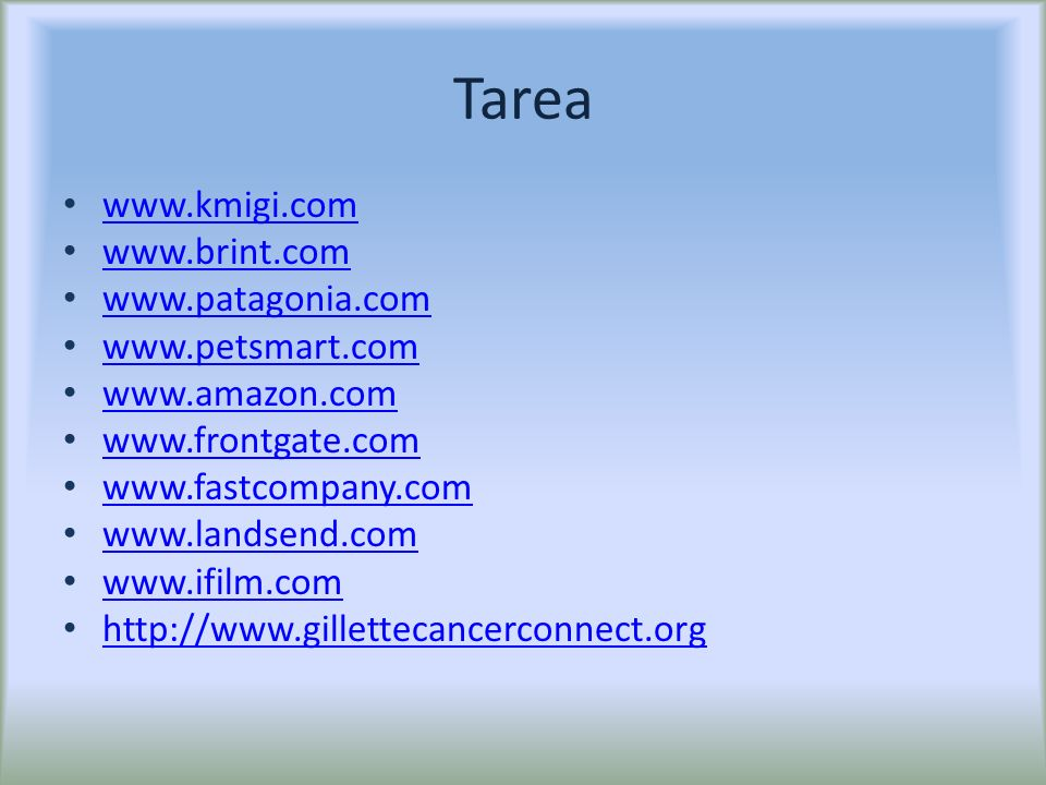 Tarea www.kmigi.com www.brint.com www.patagonia.com www.petsmart.com