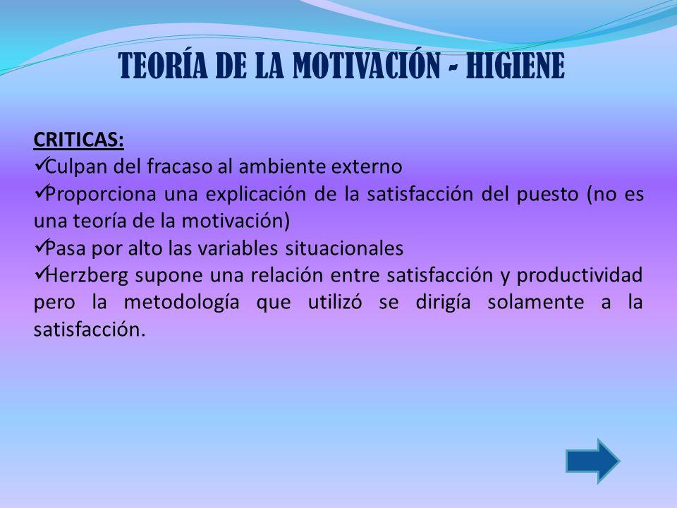 TEORÍA DE LA MOTIVACIÓN - HIGIENE
