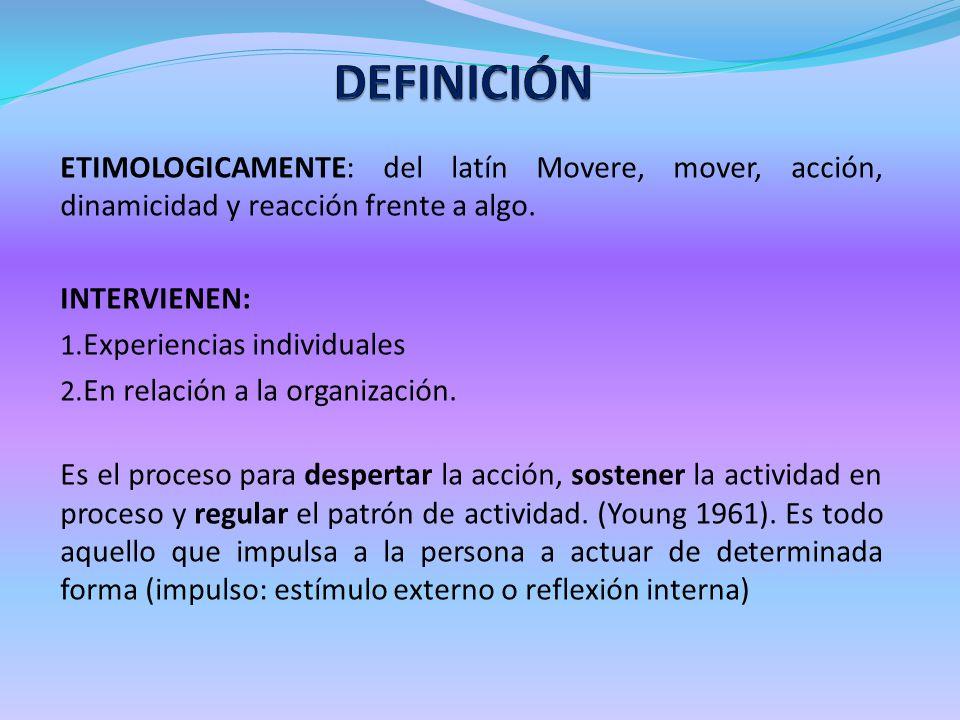 DEFINICIÓN ETIMOLOGICAMENTE: del latín Movere, mover, acción, dinamicidad y reacción frente a algo.