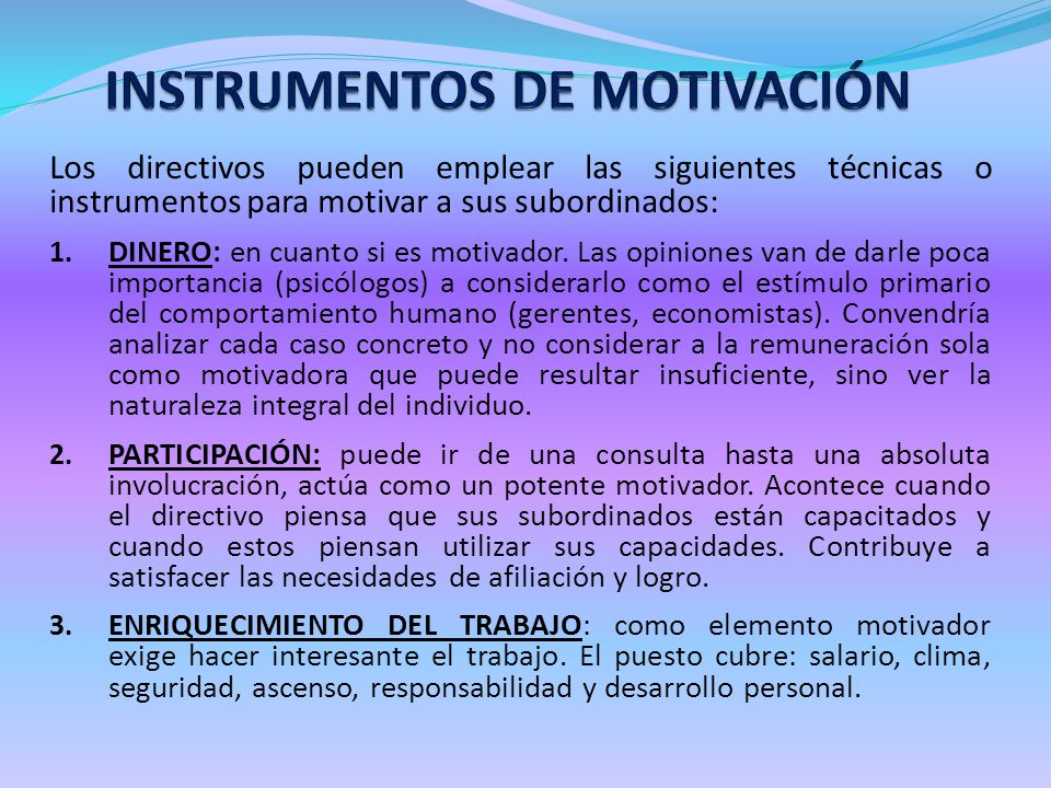 INSTRUMENTOS DE MOTIVACIÓN