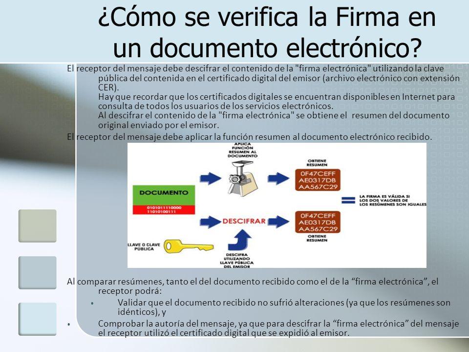 ¿Cómo se verifica la Firma en un documento electrónico