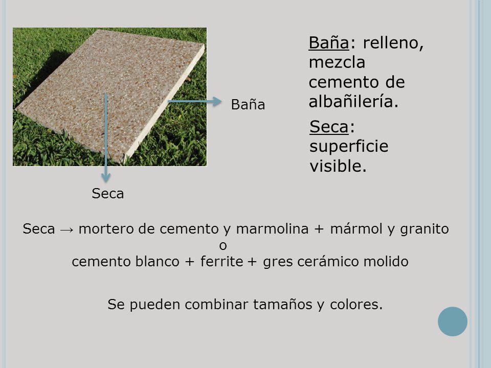 Baña: relleno, mezcla cemento de albañilería.